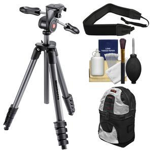 Manfrotto 65 inch Compact Advanced Aluminum Tripod and 3-Way Head with Case - Black - with Backpack + Strap + Kit
