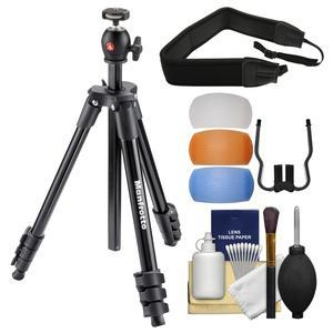 Manfrotto 51.6 inch Compact Light Aluminum Tripod and Ball Head with Case - Black - with Strap + Diffuser Filter Set + Kit
