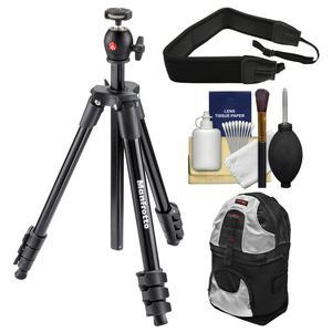 Manfrotto 51.6 inch Compact Light Aluminum Tripod and Ball Head with Case - Black - with Backpack + Strap + Kit