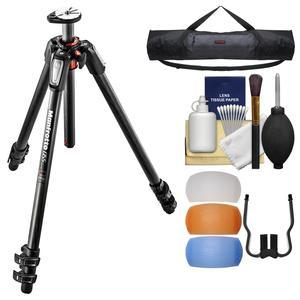 Manfrotto 055 Series 67 inch 3-Section Carbon Fiber Tripod with Case + Diffuser Filter Set + Kit