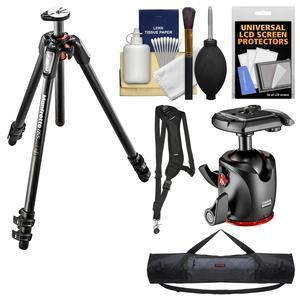 Manfrotto 055 Series 67 inch 3-Section Carbon Fiber Tripod and XPRO Ball Head with Case + Sling Strap + Kit
