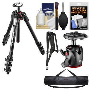 Manfrotto 055 Series 67 inch 4-Section Carbon Fiber Tripod and XPRO Ball Head with Case + Sling Strap + Kit