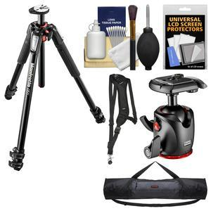 Manfrotto 055 Series 67 inch 3-Section Aluminum Tripod and XPRO Ball Head with Case + Sling Strap + Kit