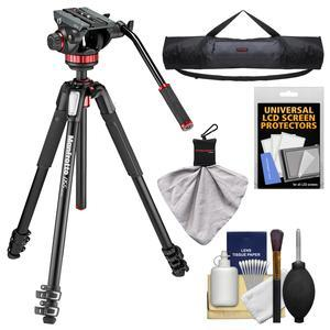Manfrotto 055 Series 72 inch 3-Section Aluminum Tripod with MVH502AH Video Head with Case + Kit