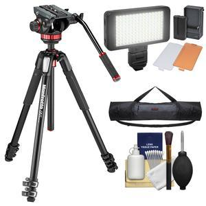 Manfrotto 055 Series 72 inch 3-Section Aluminum Tripod with MVH502AH Video Head with Case + LED Light Set + Kit