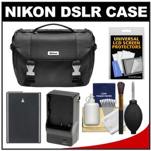 Nikon Deluxe Digital SLR Camera Case - Gadget Bag with EN-EL14 Battery + Charger + Accessory Kit