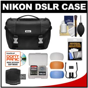 Nikon Deluxe Digital SLR Camera Case - Gadget Bag with Pop-up Filter Set + Accessory Kit