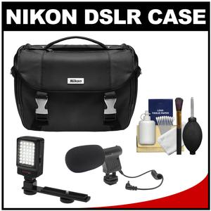Nikon Deluxe Digital SLR Camera Case - Gadget Bag with LED Light & Bracket + Microphone Kit
