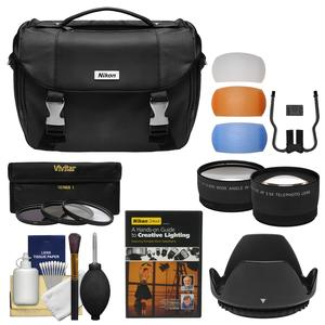 Nikon Deluxe Digital SLR Camera Case - Gadget Bag with Tele/Wide Lenses + 3 52mm UV/CPL/ND8 Filters & Hood + Lighting DVD + Kit