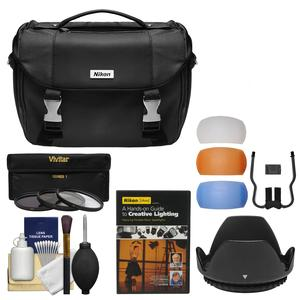 Nikon Deluxe Digital SLR Camera Case - Gadget Bag with 3 67mm UV/CPL/ND8 Filters & Hood + Lighting DVD + Kit