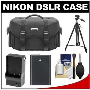 Nikon 5874 Digital SLR Camera Case - Gadget Bag with EN-EL14 Battery + Charger + Tripod + Cleaning Kit