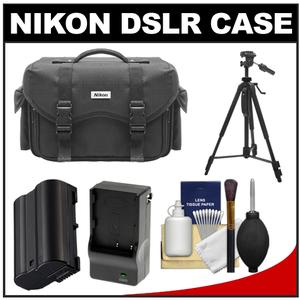 Nikon 5874 Digital SLR Camera Case - Gadget Bag with EN-EL15 Battery + Charger + Tripod + Cleaning Kit