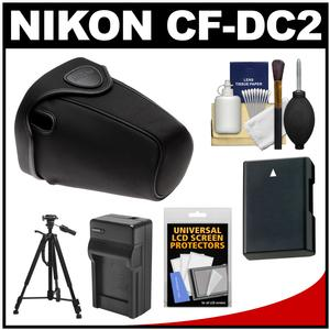 Nikon CF-DC2 Semi-Soft Holster Digital SLR Camera Case for D3200 D5200 D5300 D5500 with EN-EL14 Battery & Charger + Tripod + Accessory Kit