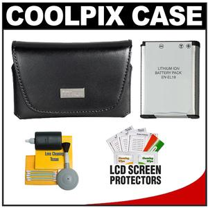 Nikon Coolpix 13059 Leather Digital Camera Case with EN-EL19 Battery + Cleaning Kit