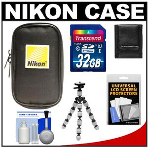 Nikon Coolpix Nylon Digital Camera Carrying Case with 32GB Card + Flex Tripod + Accessory Kit