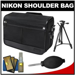 Nikon DSLR Camera/Tablet Messenger Shoulder Bag with Nikon 60 inch Tripod + Cleaning Accessory Kit