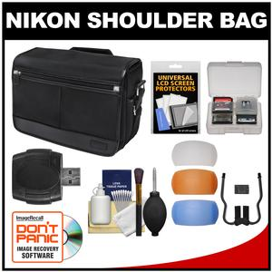 Nikon DSLR Camera/Tablet Messenger Shoulder Bag with Diffuser Filter Set + Accessory Kit