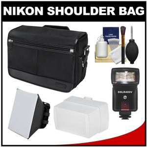 Nikon DSLR Camera/Tablet Messenger Shoulder Bag with LED Video Light & Flash + Soft Box + Diffuser + Kit