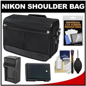 Nikon DSLR Camera/Tablet Messenger Shoulder Bag with EN-EL14 Battery & Charger + Kit for Df D3200 D3300 D5200 D5300 D5500