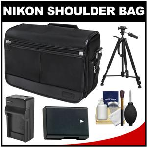 Nikon DSLR Camera/Tablet Messenger Shoulder Bag with EN-EL14 Battery & Charger + Tripod + Kit for Df D3200 D3300 D5200 D5300 D5500