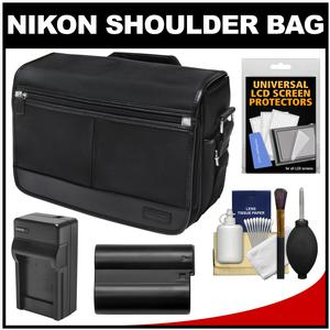 Nikon DSLR Camera/Tablet Messenger Shoulder Bag with EN-EL15 Battery & Charger + Kit for D7200 D7100 D610 D800 D810