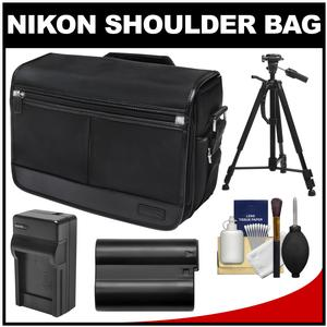 Nikon DSLR Camera/Tablet Messenger Shoulder Bag with EN-EL15 Battery & Charger + Tripod + Kit for D7200 D7100 D610 D800 D810