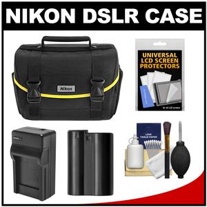 Nikon Starter Digital SLR Camera Case - Gadget Bag with EN-EL15 Battery + Charger + Accessory Kit for D7000 D7100 D7200