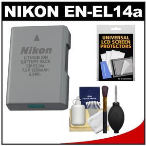 Nikon EN-EL14a Rechargeable Li-ion Battery with Cleaning Kit for D3200 D3300 D3400 D5200 D5300 D5500 Df DSLR Camera