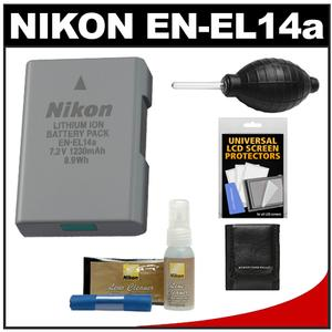 Nikon EN-EL14a Rechargeable Li-ion Battery with Nikon Cleaning Kit for D3200 D3300 D3400 D5200 D5300 D5500 Df DSLR Camera