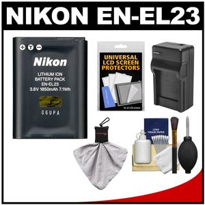 Nikon EN-EL23 Rechargeable Li-ion Battery with Charger + Accessory Kit