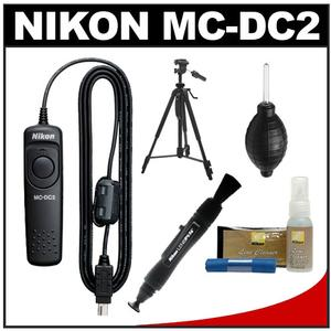 Nikon MC-DC2 Wired Remote Shutter Release Cord for D3200 D3300 D5300 D5500 D7100 D7200 D610 D750 with Tripod + Nikon Cleaning Kit