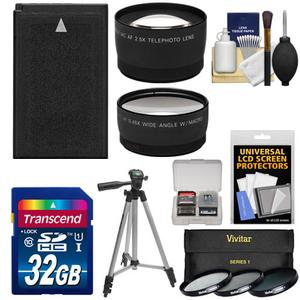 Essentials Bundle for Nikon 1 AW1 J3 and S1 Digital Camera and 10-30mm Lens with EN-EL20 Battery and 32GB Card and 3 UV-CPL-ND8 Filters and Tripod and Tele-Wide Lens Kit