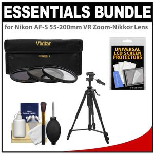 Essentials Bundle for Nikon 55-200mm f-4-5.6G VR DX AF-S ED Zoom-Nikkor Lens with 3 - UV-CPL-ND8 - Filters + Tripod + Accessory Kit