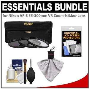 Essentials Bundle for Nikon 55-300mm f-4.5-5.6G VR DX AF-S ED Zoom-Nikkor Lens with 3-UV-CPL-ND8-Filters and Cleaning and Accessory Kit