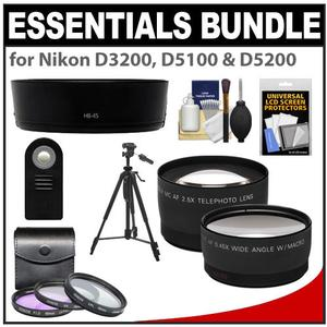 Essentials Bundle for Nikon D3100, D3200 & D5100 Digital SLR Camera and 18-55mm VR Lens with 3 (UV/FLD/CPL) Filters + Hood + Tripod + Tele/Wide Lenses + ML-L3 Remote Kit