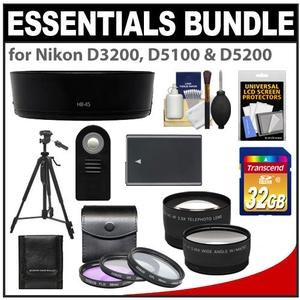 Essentials Bundle for Nikon D3200 & D5100 Digital SLR Camera and 18-55mm VR Lens with 32GB Card + EN-EL14 Battery + 3 Filters + Hood + Tripod + 2 Lenses Set + Remote Kit