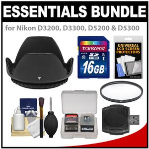 Essentials Bundle for Nikon D3200 D3300 D5200 D5300 D5500 Camera and 18-55mm VR Lens with 16GB Card and Hood and Filter and Accessory Kit