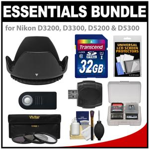 Essentials Bundle for Nikon D3200 D3300 D5200 D5300 D5500 Camera and 18-55mm VR Lens with 32GB Card and 3-UV-CPL-ND8-Filters and Hood and ML-L3 Remote and Accessory Kit