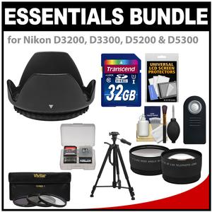 Essentials Bundle for D3300 D5300 D5500 Camera and 18-55mm VR Lens with 32GB Card and 3-UV-CPL-ND8-Filters and Hood and Tripod and 2 Lenses Set and ML-L3 Remote Kit
