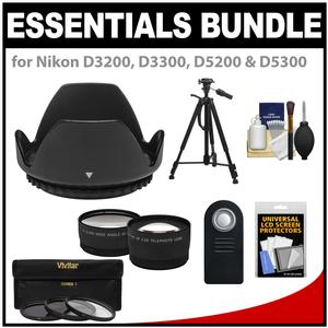 Essentials Bundle for Nikon D3200 D3300 D5200 D5300 D5500 Camera and 18-55mm VR Lens with 3-UV-CPL-ND8-Filters and Hood and Tripod and Tele-Wide Lenses and ML-L3 Remote Kit