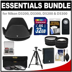 Essentials Bundle for Nikon D3200 D3300 D5200 D5300 D5500 Camera and 18-55mm VR Lens with 32GB Card + EN-EL14 Battery + 3 Filters + Hood + Tripod + 2 Lenses Set + Remote Kit