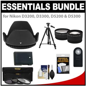 Essentials Bundle for Nikon D3200 D3300 D5200 D5300 D5500 Camera and 18-55mm VR Lens with EN-EL14 Battery and 3 Filters and Hood and Tripod and Tele-Wide Lenses and ML-L3 Remote Kit