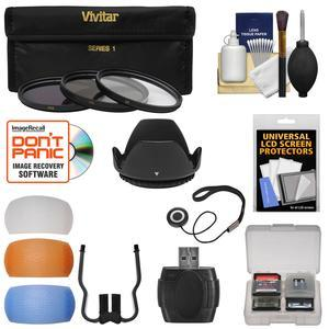Essentials Bundle for Nikon D3400 and D5600 Camera with 18-55mm VR AF-P Lens with 3 UV-CPL-ND8 Filters + Hood + 3 Pop-Up Flash Diffusers + Reader + Kit