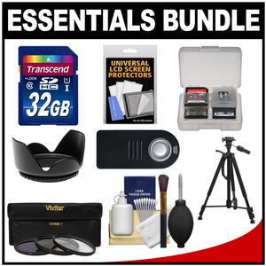 Essentials Bundle for Nikon D5300 D5500 D7100 D7200 DSLR Camera & 18-140mm VR Lens with 32GB Card + Tripod + Remote + 3 UV/CPL/ND8 Filter Kit