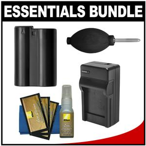 Essentials Bundle for Nikon D7100 D7200 D500 D610 D750 D810 D810A Camera with EN-EL15 Battery and Charger + Cleaning Kit
