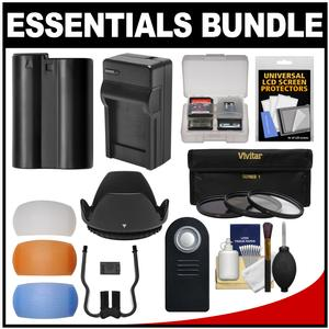Essentials Bundle for Nikon D7100 & D7200 DSLR Camera & 18-140mm VR Lens with EN-EL15 Battery & Charger + 3 UV/CPL/ND8 Filters + 3 Diffusers + Hood + Kit
