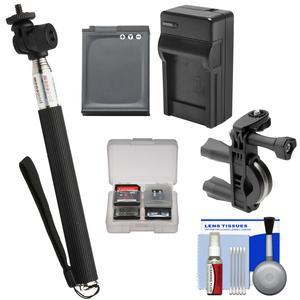 Essentials Bundle for Nikon KeyMission 170 and 360 with Selfie Stick and EN-EL12 Battery and Charger and Bike Handlebar and Suction Cup Mount and Kit