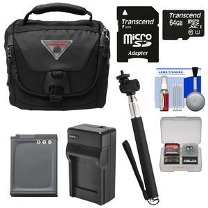 Essentials Bundle for Nikon KeyMission 170 and 360 with Case + EN-EL12 Battery and Charger + Selfie Stick + Kit