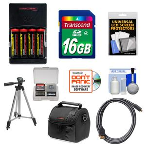 Essentials Bundle for Nikon Coolpix B500 L830 L840 Camera with 4 AA Batteries and Charger + 16GB Card + Case + Tripod + HDMI Cable + Accessory Kit
