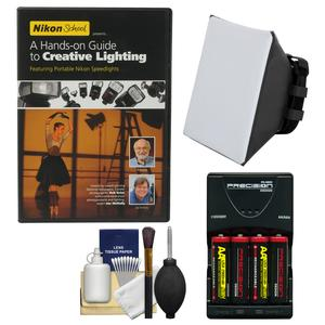 Essentials Bundle for Nikon SB-500 SB-700 SB-910 and SB-5000 AF Speedlight Flashes AA Batteries-Charger + Soft Box + Kit